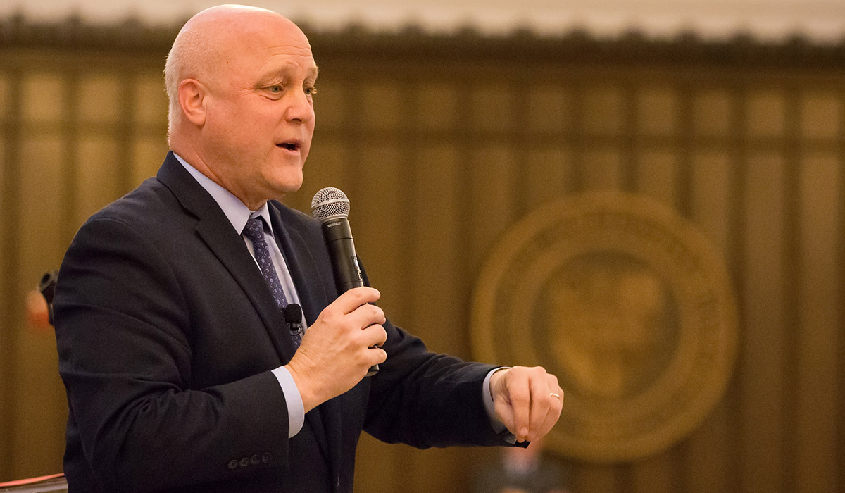 Mitch Landrieu giving a speech at Catholic University