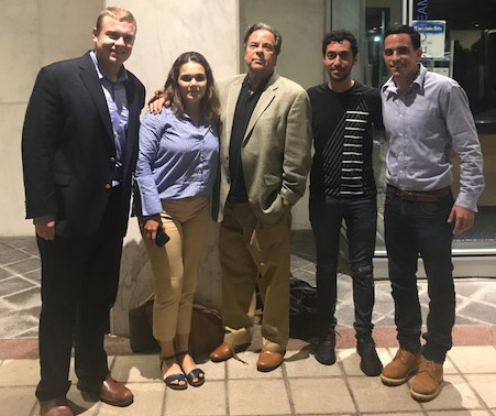 Trey Yingst, White House Press corp, joined Professor Bua's last class in CPOL 661, Media: Impact on Domestic and International Politics, on Wednesday, Jult 25, 2018. From left to right: Sean Sullivan, Maria Martinez, Professor Bua, Saud Binmaummar, and Trey Yingst.