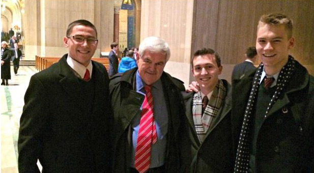 Newt Gingrich, Former Speaker of the House and scholar with the American Enterprise Institute, met with CUA students on campus.
