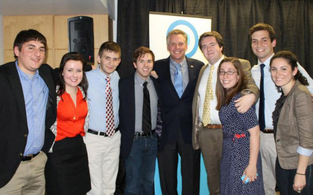 Former Virginia Governor Terry McAuliffe poses with the Catholic University of America College Democrats.